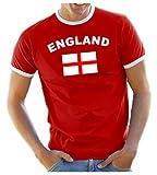 Coole-Fun-T-Shirts Herren T-Shirt England Ringer, rot, L, 10831_England_HERI_GR.L