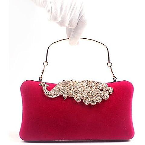 Da Wu Jia Ladies borsetta di alta qualità di lusso in velluto donne poli uretano evento formale parte carriera Ufficio Borsa serale Peacock diamanti Flannelette borsette della frizione , fuchsia