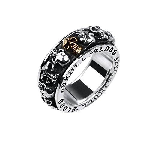 Rock&Ride Fingerring Vintage 925 Sterling Silber Mehrere Schädel Kopf Spinner Glücklich Ring (Kopf Mehrere)