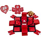 Next Bazaar 3 Layered Romantic Explosion Box - Black & Red Love with Heart Shape Greeting Card