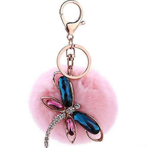 Schlüsselanhänger plüsch ball Taschenanhänger strass bommel Keychain Elegant Plüsch-Kugel Auto-Anhänger Pompom Weich dragonfly mit Strass Süß Handtaschenanhänger Dekor (Pink)