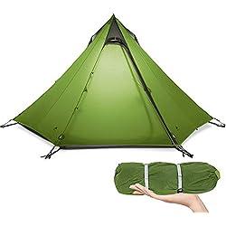 KIKILIVE Tente de Camping 3 Saisons ultralégère pour Camping extérieur de 2 à 3 Personnes,Tente de randonnée pyramidale étanche, Tente de tipi à Configuration Rapide, Kayak, Escalade,randonnée