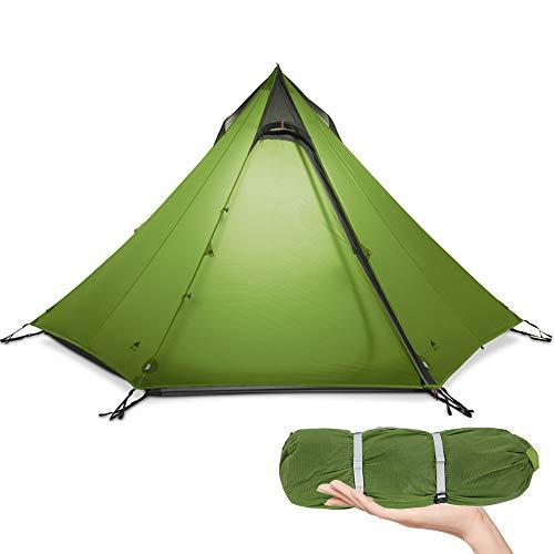KIKILIVE Ultraleichtes Zelt 3 Season Camping Zelt für 2-3 Personen Outdoor Camping,New LanShan Wasserdichtes Rucksack-Pyramiden-Zelt,schnell aufgebautes Tipi-Zelt,Kajakfahren,Klettern,Wandern