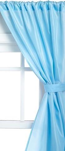 Carnation Home Fashions Fabric Bathroom Window Curtain, Light Blue