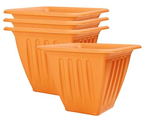 4Stück große Kunststoff geprägt Pflanzgefäßen. Clay rot, dunkel grün-Der 23,5cm, 37,1x 16,8cm lang, 26,7cm rund-Große Blumentöpfe. Square Clay Red Red Square Pot