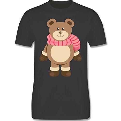 Weihnachten & Silvester - Winter Teddy mit Schal - Herren Premium T-Shirt Dunkelgrau