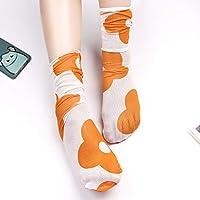 CYMTZ 5 Pares/Paquete Lindo Hilo De Malla Estampado De Flores Calcetines para Niñas Calcetines Divertidos Calcetines Finos De Primavera Y Verano