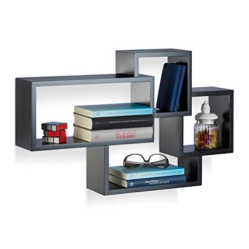 Relaxdays 10021900_46 cubi da parete, mensole cube, design moderno, 4 scomparti, legno mdf, hxlxp: 42x69x12 cm, nero
