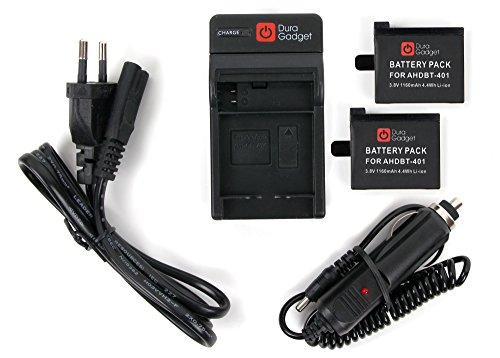 DURAGADGET Chargeur 2 en 1 + DEUX batteries pour caméscope GoPro 4,...
