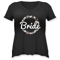JGA Junggesellinnenabschied - Bride Blumenkranz - L (48) - Schwarz - JHK603 - Weit geschnittenes Damen Shirt in großen Größen mit V-Ausschnitt