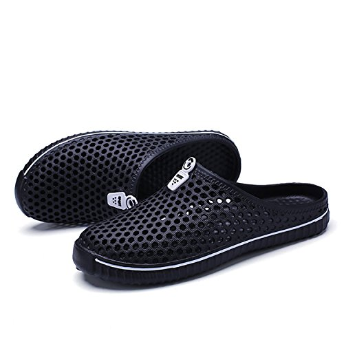Meedot Unisexe Chaussons Slippers Femmes Eau Chaussures Hommes Sabots Plage Chaussures Bain Pantoufles Intérieur de Plein Air Loisir Chaussures Slip-On Chaussures Glisser Sur Creux Chaussures 36-45 Noir