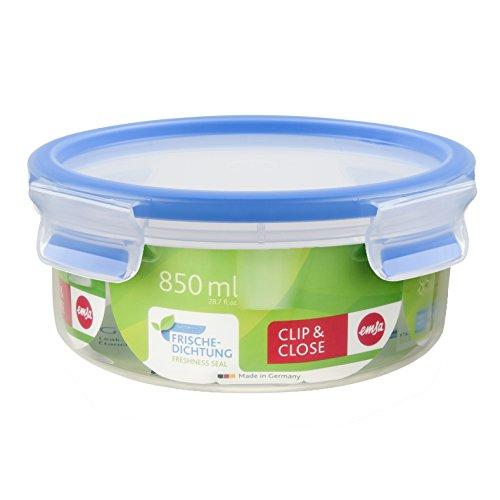 Emsa 508552 Runde Frischhaltedose mit Deckel, 0.85 Liter, Transparent/Blau, Clip & Close