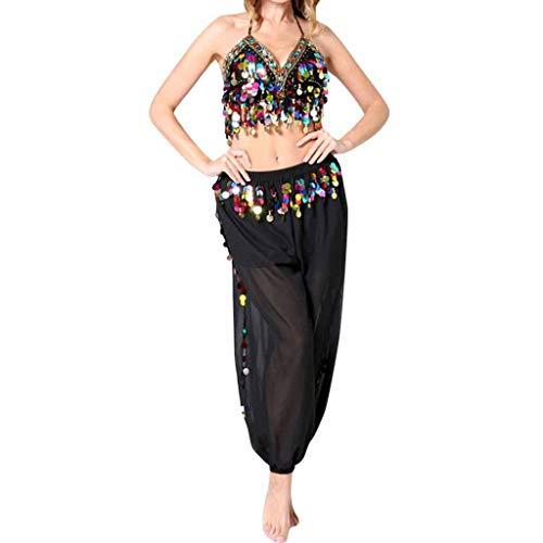 Bauchtanz Kostüm Set für Damen Oberteil und Hose Piebo Aladdin Kostüm Orient Kostüm Faschingskostüm Chiffon Karnevalkostüm Indischer Tanz Darbietungen Kleidung Festival Show Kostüme