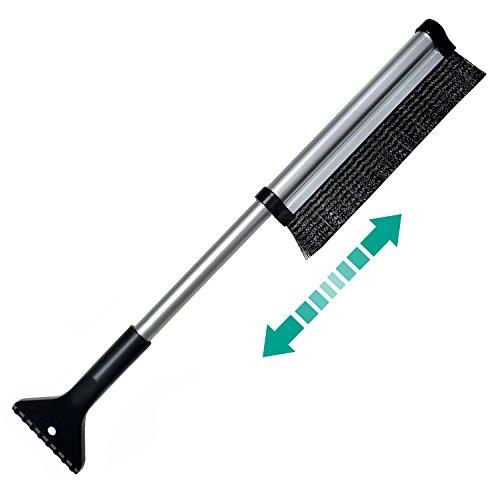 ODOLAND® [2in1] Eiskratzer+Schneebesen – Teleskopstiel 65cm, Zusammenschiebbar, ABS schont Oberflächen – für Auto, Truck, Gartenhütte
