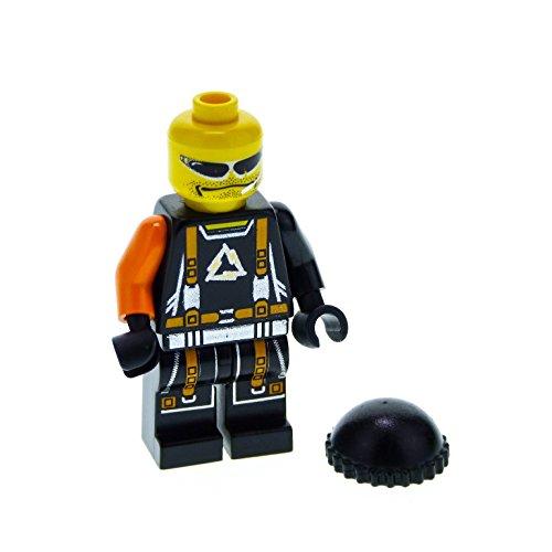 Bausteine gebraucht 1 x Lego System Figur Alpha Team Mission Deep Freeze Flex Arctic Torso schwarz Gurt orange Silber Schnalle EIN Arm orange Sonnenbrille alp027