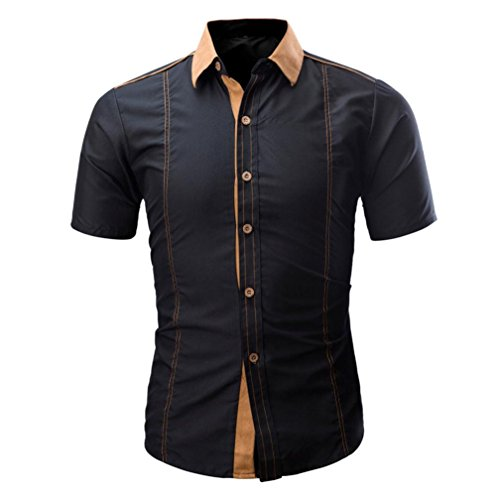 Männer Herren Colorblock T-Shirt Einfarbig Männliches Hemd Mode T-Shirt GreatestPAK,Schwarz,L