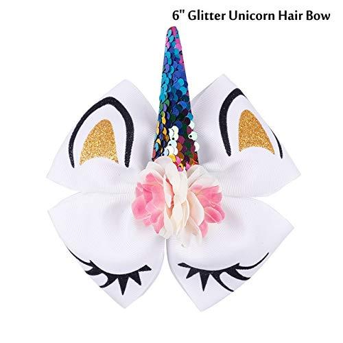 (Shoppy Star Haarschleife mit Pailletten und Horn, 17,8 cm, glitzernd, Blumen-Design, mit elastischem Clips, für Mädchen)