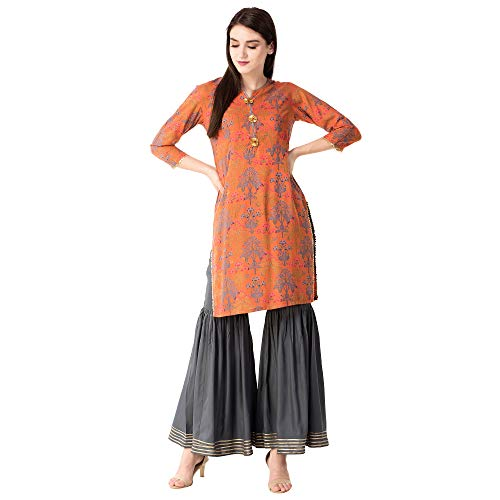 Khushal K Womens Rayon Printed Kurta With Sharara Palazzo Set