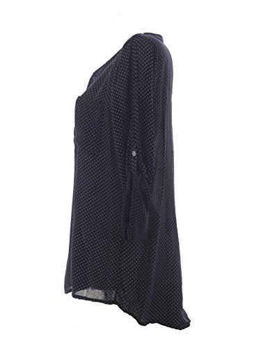 Damen Bluse Tunika Longbluse mit Punkten Rauten Flowers Lässige Bluse Fischerhemd Polka Dots Marineblau