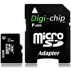 Digi-Chip Carte mémoire Micro SD 64 Go pour Samsung Galaxy A10, A20, A30, A40, A50, A60, A70, A90, A10s, A20s, A30s, A50s, A70s, M10s, M30s
