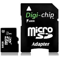 Digi-chip 64GB tarjeta de memoria Micro-SD UHS-1clase 10. Hecho con Samsung chips de memoria de alta velocidad. Para Go Pro cámaras de acción Go Pro Hero 3, Hero 4, Hero 4, Hero sesión, hero 5período de sesiones