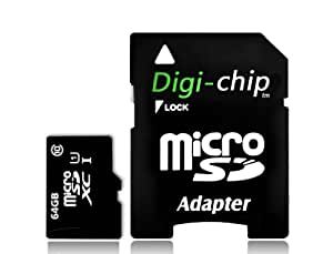 Digi-Chip 64 GO CLASS 10 UHS-1 MICRO-SD CARTE MÉMOIRE POUR SAMSUNG GALAXY S4, S IV, Mini, Zoom, GALAXY J, Win Pro G3812, S Duos 2 S7582, Grand 2, I9230 Galaxy Golden, Galaxy Express 2, Samsung I9506 Galaxy S4, Round G910S, Core Plus, Galaxy Fresh S7390, I9500, I9502, CDMA, Young S6310, Galaxy Young Duos S6312, Samsung GT-S6310L