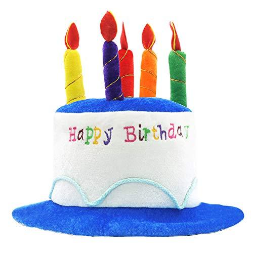 Novelty Place Gorro de Felpa para Tarta de cumpleaños con diseño de Lugar novedoso, Unisex, para Adultos, Fiesta, Accesorios de Disfraces, Tartas y 5 Velas