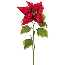 Set 3 x Flor de Pascua artificial - Ponsetia, rojo, 70 cm - 3 unidades de flor sintética /planta artificial - artplants