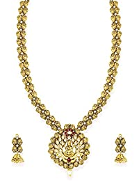 Zaveri Pearls Antique Gold Tone Goddess Temple Necklace Set For Women-ZPFK6795
