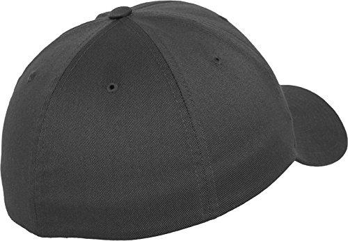 Flexfit Wooly Combed - 6 Panel Unisex Baseball Cap in 28 Farben, für Erwachsene und Kinder Dark Grey
