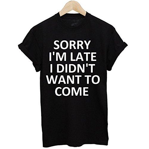 Yogogo Mode Femmes été désinvolte coton mélangé chemisier Shirt à manches courtes Lettres Imprimées Blouse Top Noir