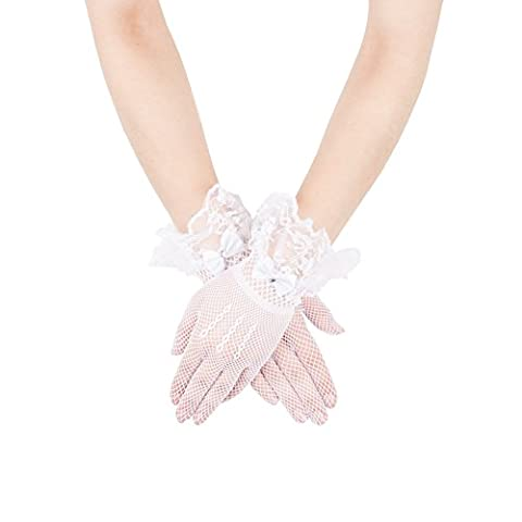 GLV034 White Mesh net Fishnet Lace Gloves with Lace Ruffle and Bow