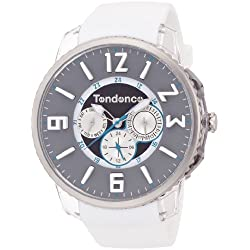 Tendence Slim -Pop Multifunctional Unisex Quartz Watch with Black Dial Analogue Display and White Plastic or PU Strap TG165004