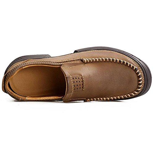WYWQ Scarpe da trekking Scarpe da uomo Tacco piatto Scarpe casual Outdoor Set di scarpe Business Testa rotonda in vera pelle khaki
