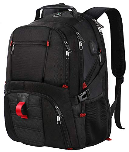 MANCRO Laptop Rucksack Backpack Wasserdicht Großer mit USB Ladeanschluss für Männer Schüler, 17 Zoll, Schwarz MEHRWEG