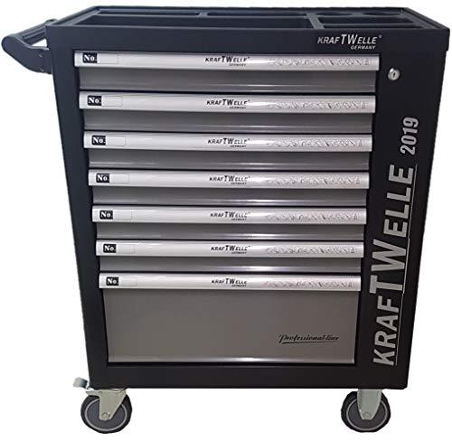 Werkzeugwagen Werkstattwagen von KRAFTWELLE 7 Schubladen komplett gefüllt mit Werkzeuge - Werkzeugkasten fahrbar mit abschließbarem Seitenfach für ein sicheres Arbeiten (Schwarz)