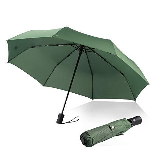 Regenschirm Automatischer boy ® Taschenschirm mit 8 Edelstahl-Rippen Windsicher & Sturmfest, windtest bei 140 km/h, Kompakt, Leicht& Stabiler Reise Taschenschirm für Frauen und Männer, Grün