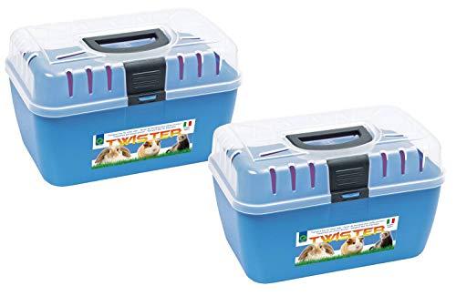 PETGARD 2er Sparpack Transportbox Twister für Kleintiere Nager Reptilien 29 x 19 x 18 cm blau