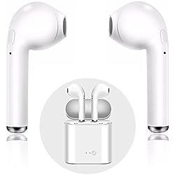 Auriculares Bluetooth,Mini Auriculares Bluetooth para Deportes con Kit de Carga Mini Auriculares intrauditivos para iPhone X 8 8 Más 7 7 Más 6S Samsung Galaxy S7/S8 iOS Android Smartphones