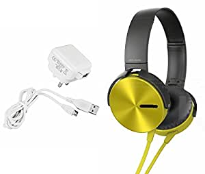 MIRZA Mobile Charger & Extra Bass XB450 Headphones for HTC DESIRE XC(Mobile Wall Charger||Travel Charger||With Power Adapter||Mobile Charger||With Seperate Data Cable||USB Cable||Data Transfer Cable & Extra Bass XB 450 Headphones||Sports Headphones||Gym Headphones)