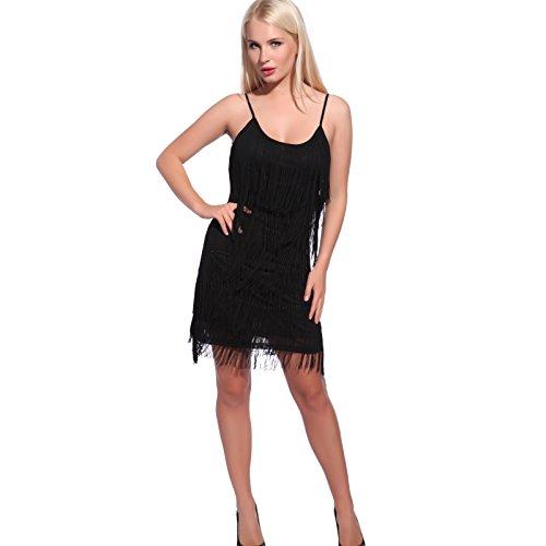 Anladia Damen Fransen Pailletten Party Tanzkleid Charleston Festlich Damenkostüm, S, Lang Flapper-schwarz (Kostüm Und Tanzkleider)