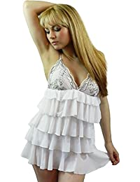 Yummy Bee - Babydoll Chemise Froufrous Nuisette Négligé String Grande Taille 34 - 42