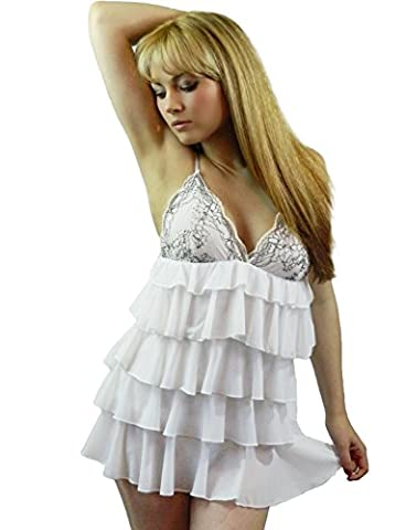 Yummy Bee Plus Size Babydoll Sexy Lingerie Frilly Sleepwear Negligee Set Lace G String Plus Size 6 - 18 (White,