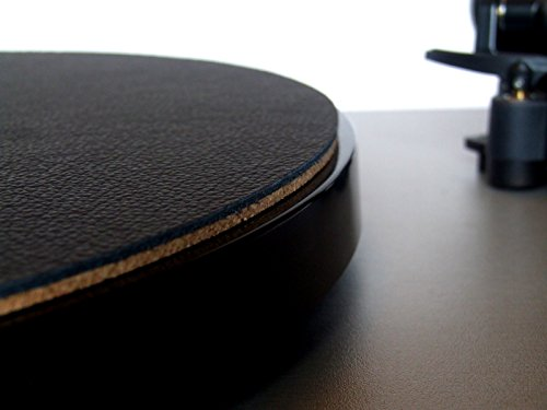 Wooden Bull - Audiophilen Plattentellerauflage aus Leder und Kork - SCHWARZ - Plattenspieler-matte Leder