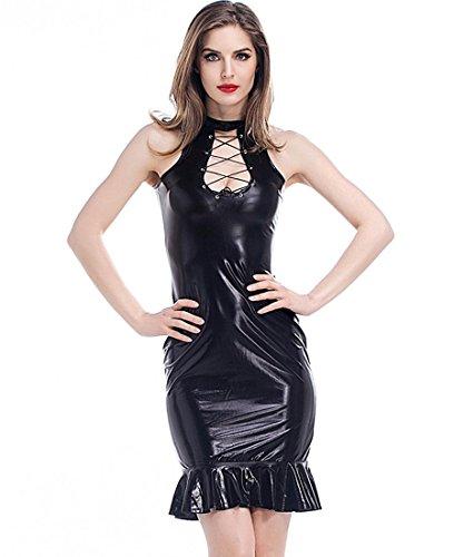 DuuoZy Frauen-Kunstleder, figurbetontes Kleid Mode-Königin Lace-up-Kleid-Partei-Verein-Cocktail , black , m