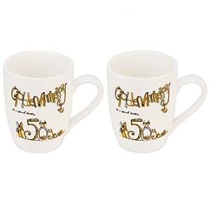 Tracey russell tr11250 set 2 tasses mugs anniversaire de mariage noce d 39 or golden - Cadeau noce d or ...