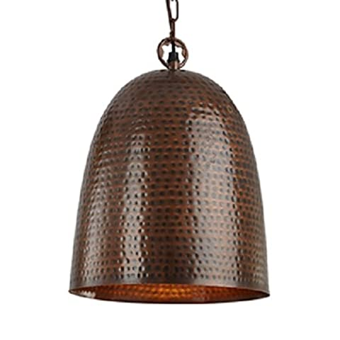 Searchlight Antique Bronze Bell Hammered Pendant Light with Chain Suspension Diameter: 350mm,