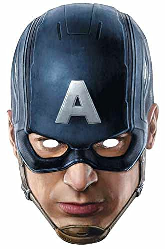 The Avengers - Captain America Papp Maske, aus hochwertigem Glanzkarton mit Augenlöchern, Gummiband - Größe ca. 30x20 (America Kostüme Captain Große)
