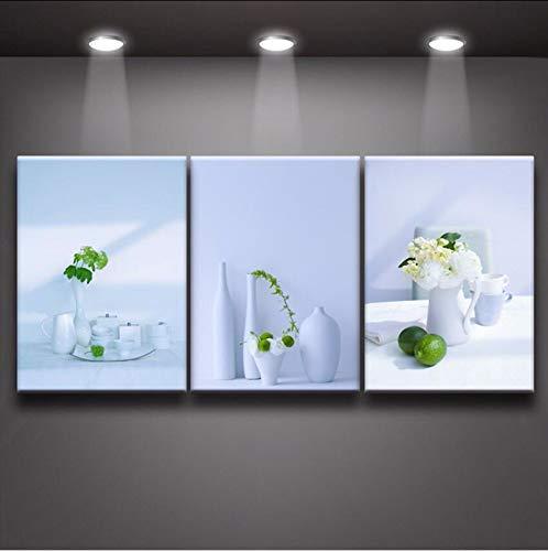 Juabc Moderne Wanddekoration Blumen Und Vase Frische Weiße Porzellan 3 Panel Malerei Leinwanddruck Kunstwerk Für Wohnzimmer Küche Restaurant Wanddekor Rahmenlose 16X24 Zoll X3 - Porzellan-panel
