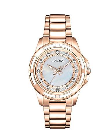 Bulova Ladies Women's Designer Diamond Watch - Two Tone Rose Gold Fashion Wrist Watch 98S141